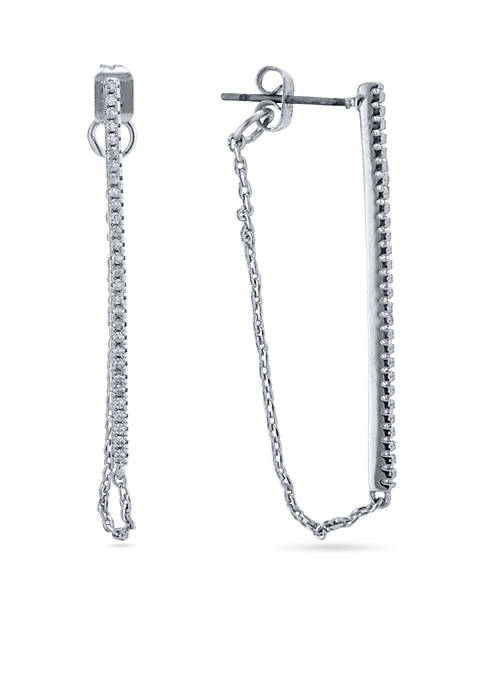 evie & emma Silver Plated CZ Pave Bar