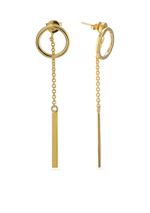 Gold Over Fine Silver Plated Circle And Bar Front and Back Earrings