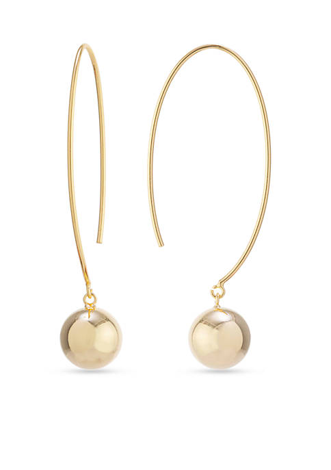 Gold Over Fine Silver Plated Ball Drop Threader Earrings