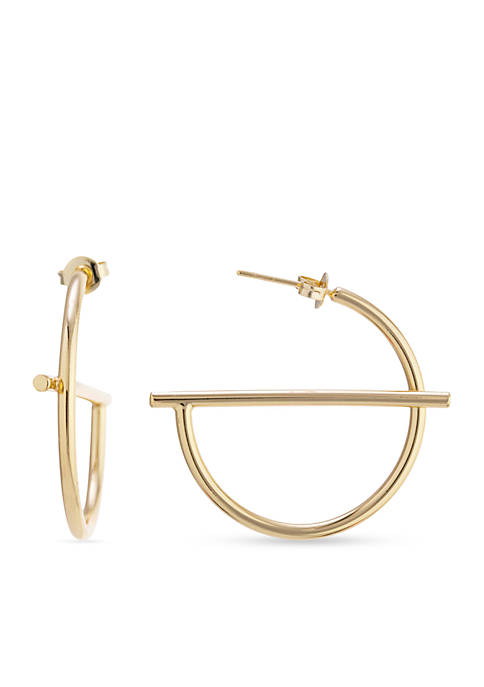 Gold Over Fine Silver Plated Center Bar Hoop Earrings