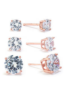 evie & emma Rose Gold Over Fine Silver Plate Cubic Zirconia Stud Earrings Set