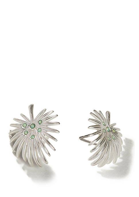 Palmetto Frond Huggie Earrings Sea Green