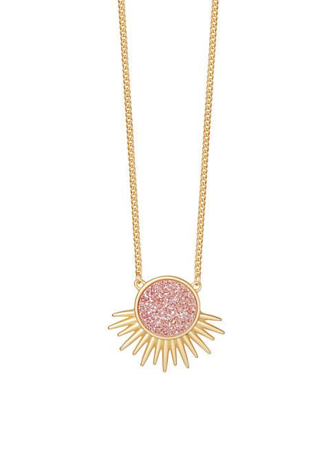 Deco Spike Blush Druzy Necklace