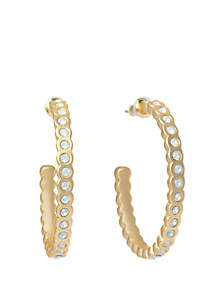 Chambers White Opal Hoop Earrings