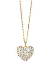 Bursting Heart White Opal Slide Necklace
