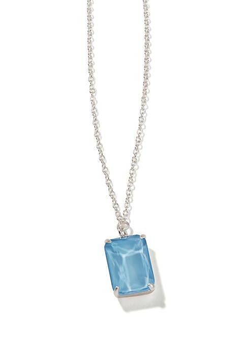 Sky Blue Rectangle Bitty Necklace