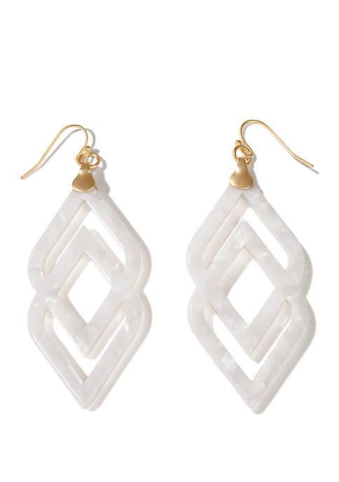 spartina 449 Deco Drama Earrings White Shimmer