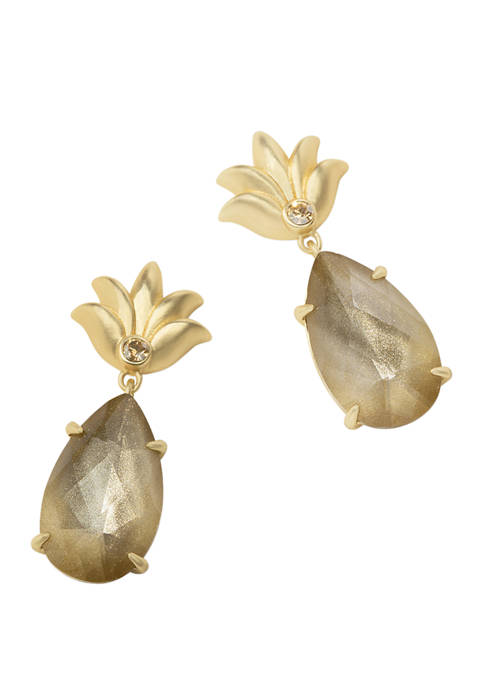 spartina 449 Gilded Gold Pineapple Dewdrop Earrings