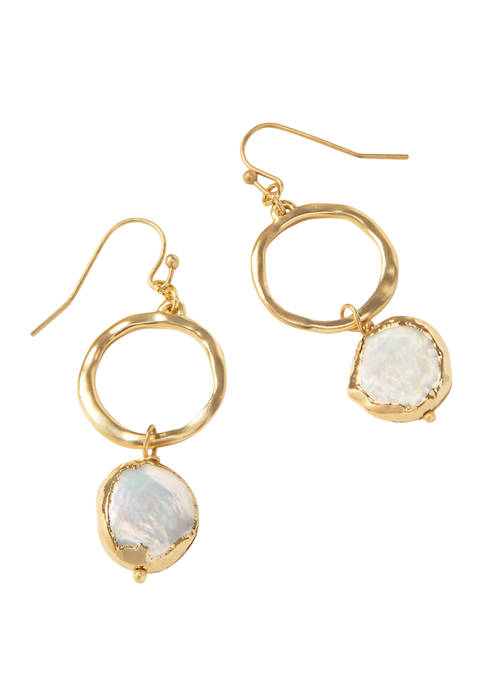 spartina 449 Lab Created Coin Pearl Ring Earrings