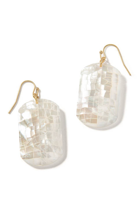 Crushed Pearl Rectangle Drop Earrings