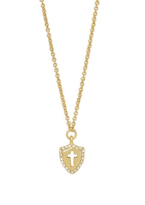spartina 449 Faith Over FearCross Shield Necklace