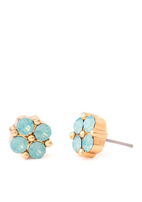 18 KT Gold-Plated Clover Sea Foam Gem Stud Earrings