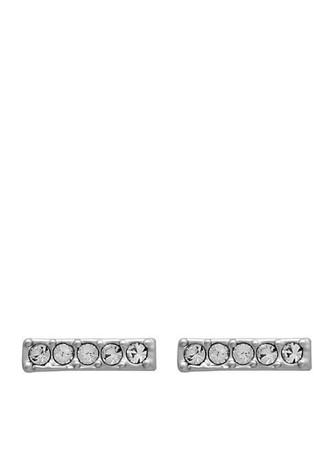 Silver-Tone Sea La Vie Horizontal Bar Stud Earrings