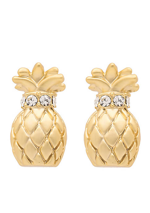"Sea La Vie Gold-Tone ""Say Thanks"" Pineapple Stud Earrings"