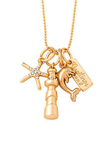 Gold-Tone Sea Islands Charm Necklace