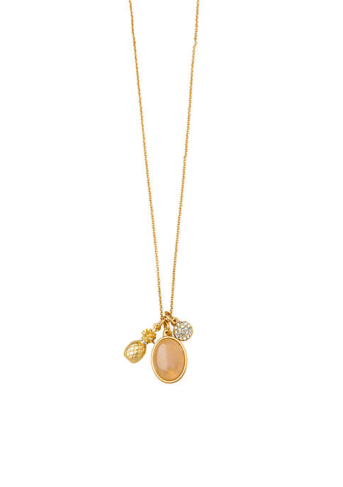Gold-Tone Sea La vie Pineapple Trio Pendant Necklace