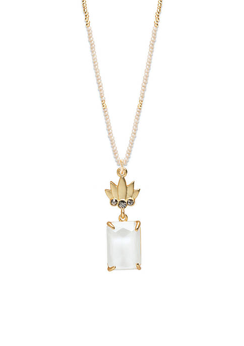 spartina 449 Gold-Plated Pineapple Sparkle Bitty Pendant Necklace