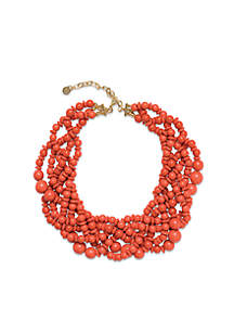 Gold-Plated Coral Beaded Statement Necklace
