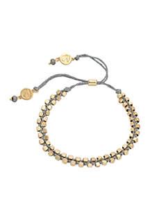 18 KT Matte Gold-Plated Beaded Wrap Bracelets