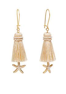 Gold-Tone Sea Star Tassel Earrings