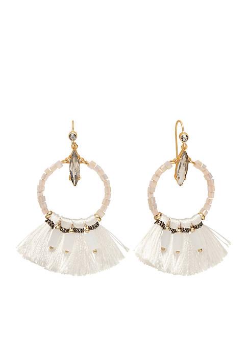 18 KT Matte Gold-Plated Iced Tassel Earrings