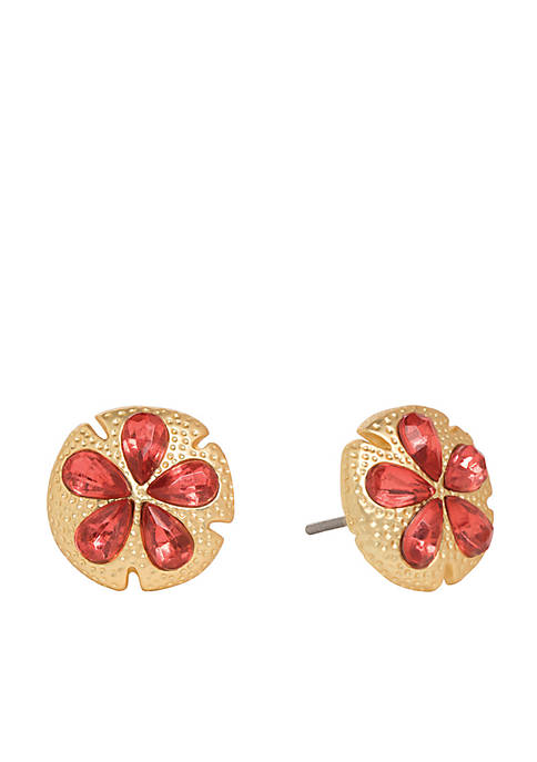 spartina 449 Gold-Tone Sand Dollar Sparkle Stud Earrings