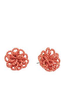 18K Matte Gold Plated Beaded Pouf Stud Earrings