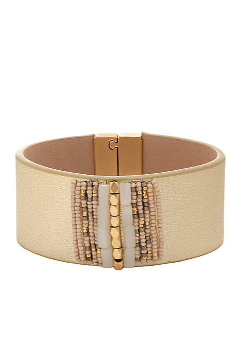 spartina 449 18 KT Matte Gold-Plated Beaded Leather