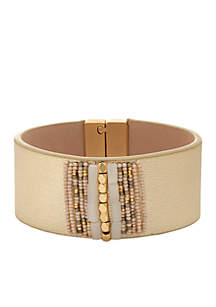 18 KT Matte Gold-Plated Beaded Leather Wrist Wrap Bracelet