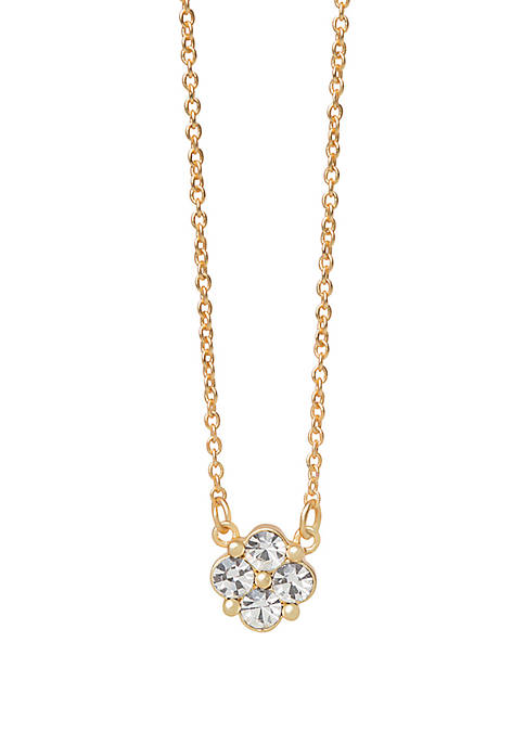 18k Gold Plated Sea La Vie Blessed Crystal Clover Necklace