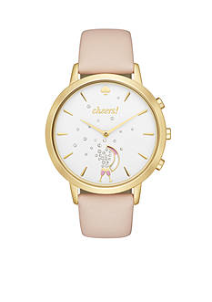 kate spade new york® Gold-tone and Vachetta Leather Metro Hybrid Smartwatch