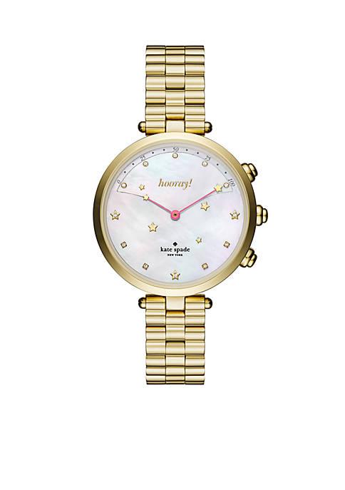 Gold-Tone Holland Slim Bracelet Hybrid Watch