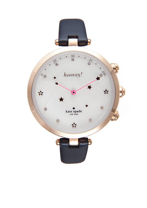 Womens Holland Slim Navy Leather Strap Hybrid Smart Watch
