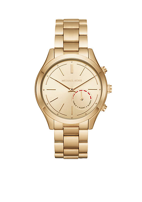 Michael Kors Womens Slim Runway Gold-Tone Hybrid Smartwatch