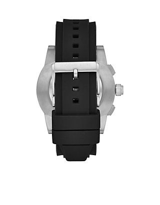 1c5382425535 ... Michael Kors Access Mens Grayson Stainless-Steel Black Silicone Hybrid  Smartwatch ...