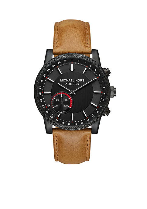 Stainless Steel IP Leather Hybrid Smartwatch