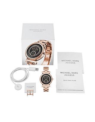 d8ad096517cb ... Michael Kors Access Womens Sofie Rose Gold-Tone Touchscreen Smartwatch  ...