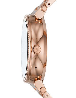 324e36e60b3b ... Michael Kors Access Womens Sofie Rose Gold-Tone Touchscreen Smartwatch  ...
