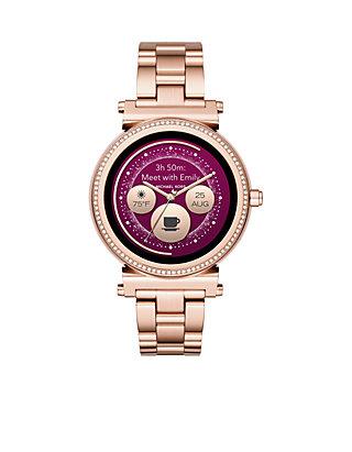 30ec56f10385 ... Michael Kors Access Womens Sofie Rose Gold-Tone Touchscreen Smartwatch