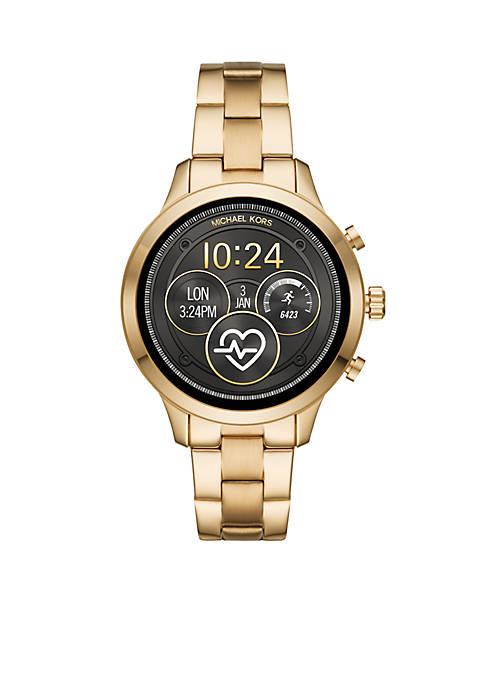 Gold-Tone Runway Bracelet Digital Display Watch