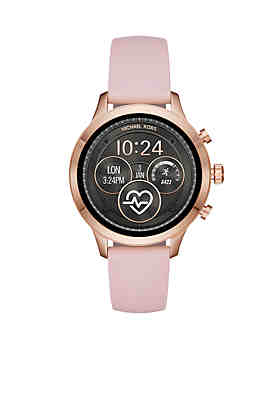 acd8c752af45 Michael Kors Rose Gold-Tone Runway Blush Silicone Strap Watch ...
