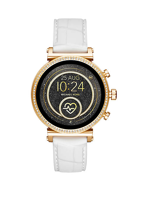Gold Tone Access Sofie Heart Rate Touchscreen Croco Embossed Silicone Smartwatch