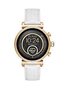 Michael Kors Gold Tone Access Sofie Heart Rate Touchscreen Croco Embossed Silicone Smartwatch