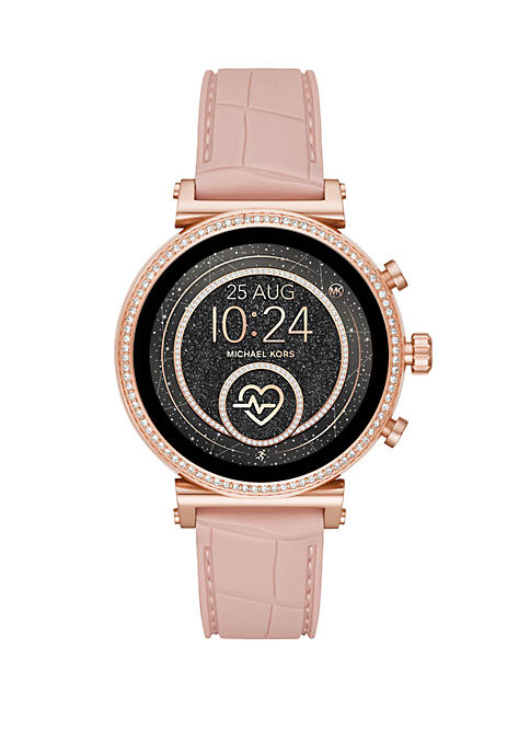 Rose Gold Stainless Steel Access Sofie Heart Rate Touchscreen Croco Embossed Silicone Smartwatch