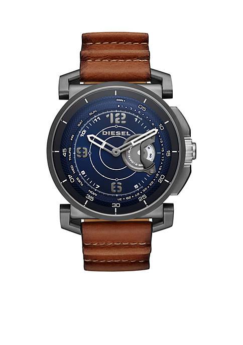 Mens DieselOn Time Leather Hybrid Smartwatch