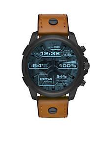 Men's Diesel On Full Guard Black IP Brown Leather Touchscreen Smartwatch