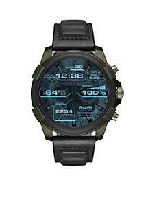 Men's Diesel On Full Guard Olive IP Black Leather Touchscreen Smartwatch