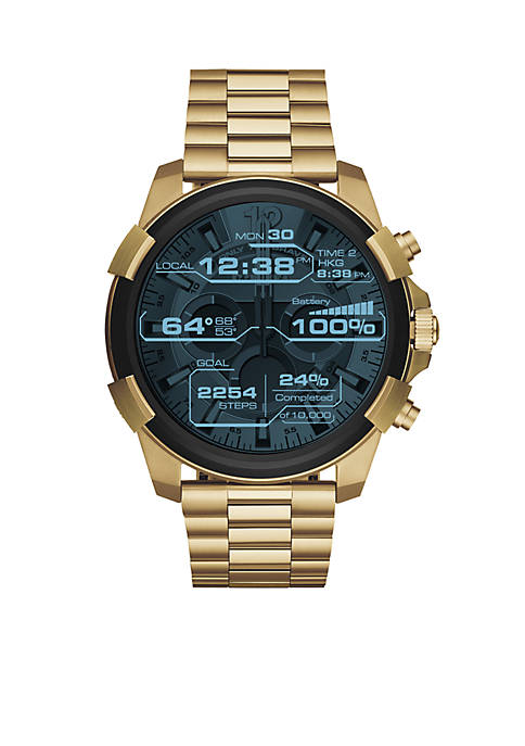 Mens Gold-Tone Diesel On Full Guard Touchscreen Smartwatch