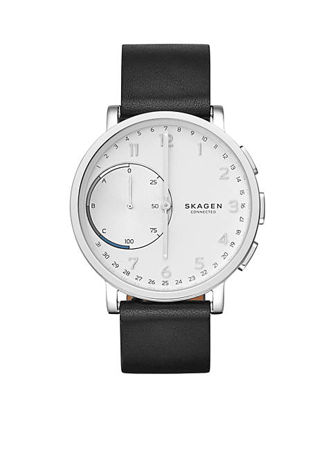 Silver-Tone Hagen Connected Leather Hybrid Smartwatch