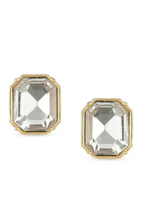 Laundry by Shelli Segal Gold-Tone Emerald Cut Stud